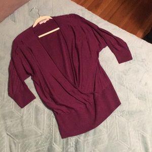 Maroon low cut v neck sweater NWOT